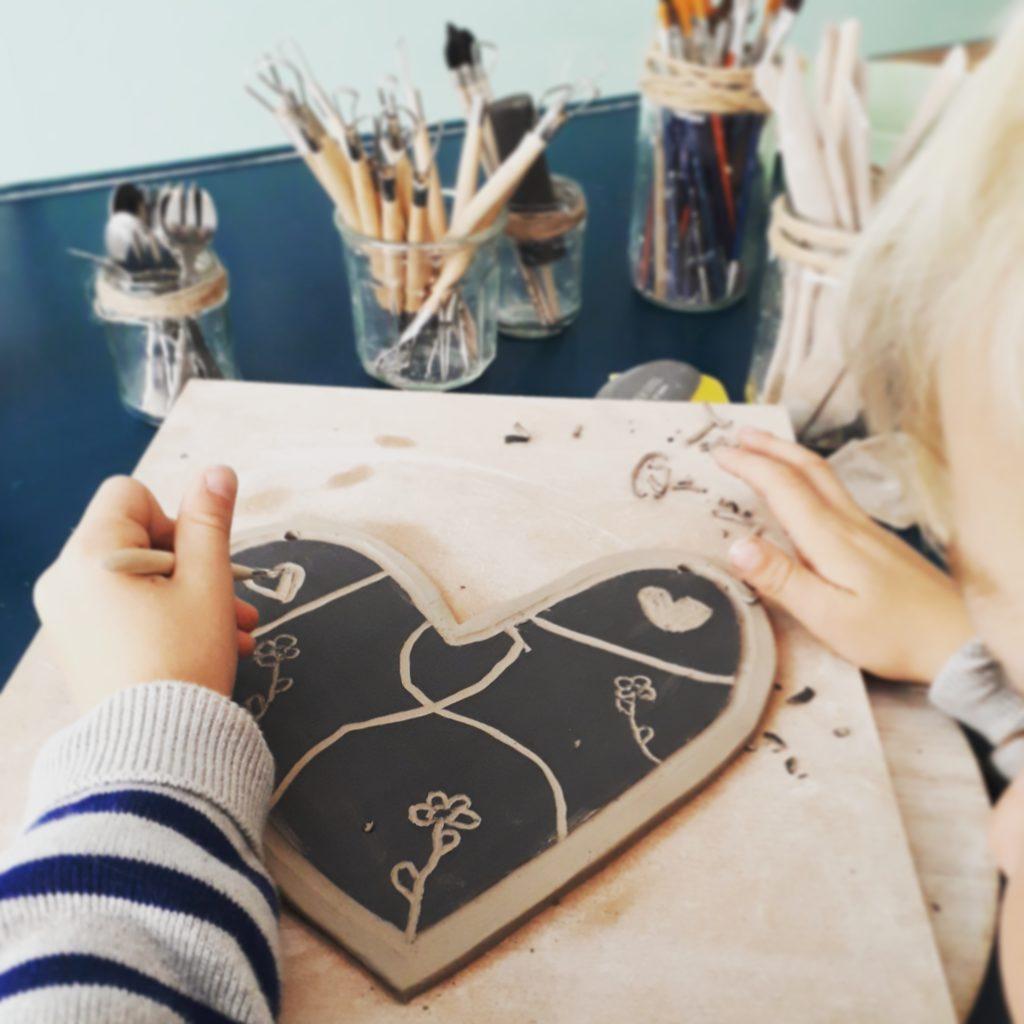coeur céramique noir et blanc